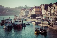 Alte Stadt Porto, Portugal auf dem Duero-Fluss Stockfotografie