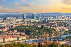 Alte Stadt Prags und Geschäftsgebiet, Vogelperspektive stockbild