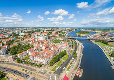 Alte Stadt Szczecin gesehen vom bird& x27; s-Augenansicht Landschaft von Szczecin mit Fluss und Schloss Odra Lizenzfreie Stockbilder