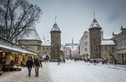 Alte Stadt Tallinn im Winter Lizenzfreie Stockfotos