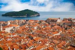 Alte Stadt und Insel Lokrum Dubrovniks Lizenzfreie Stockfotos