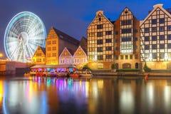 Alte Stadt und Motlawa-Fluss in Gdansk, Polen Stockfotografie