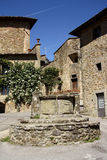 Alte Stadt in Volpaia (Toskana, Italien) Stockfotografie