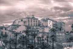 Alte Stadt von Ajaccio bis zum Nacht Stockbilder