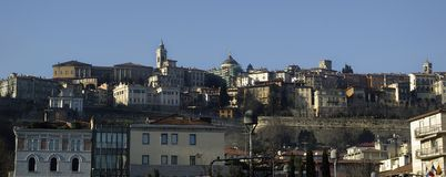 Alte Stadt von Bergamo in Italien Lizenzfreies Stockbild