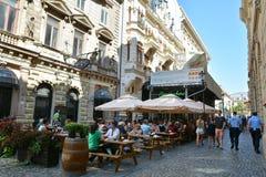 Alte Stadt von Bukarest, Lipscani-Bezirk Stockfoto