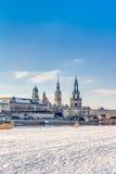 Alte Stadt von Dresden im Winter Lizenzfreies Stockbild