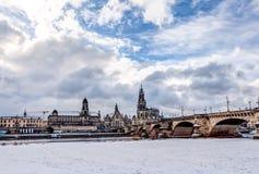 Alte Stadt von Dresden im Winter Lizenzfreie Stockfotos