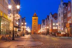 Alte Stadt von Elblag nachts Stockbild