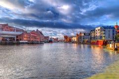 Alte Stadt von Gdansk an der Dämmerung Lizenzfreies Stockfoto
