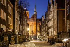 Alte Stadt von Gdansk in der Winterlandschaft Stockfotografie