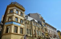 Alte Stadt von Himmel BucharestPura Vida Bar und Rembrandt-Hotel Lizenzfreie Stockfotografie