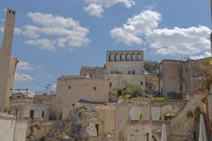 Alte Stadt von Matera Sassi di Matera, Basilikata, Italien lizenzfreie stockfotos