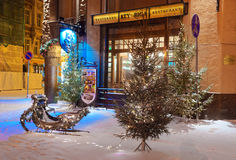 Alte Stadt von Riga verzierte für Weihnachten und neues Jahr Lizenzfreie Stockfotos