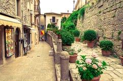 Alte Stadt von San Marino Stockfotografie