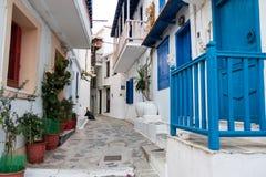 Alte Stadt von Skopelos stockfoto