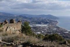 Alte Stadt von Syedra in Alanya-Provinz von der Türkei Stockbild