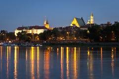 Alte Stadt in Warschau bis zum Nacht Lizenzfreies Stockfoto