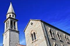 Alte Stadtarchitektur von Budva, Montenegro auf adriatischer Küste Lizenzfreie Stockbilder
