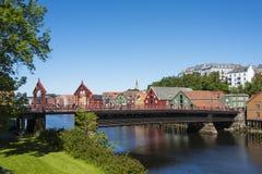 Alte Stadtbrücke Trondheim Lizenzfreies Stockfoto