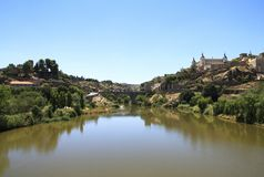 Alte Stadtlandschaft Fluss Tajo Spanien-Reise Stockbild