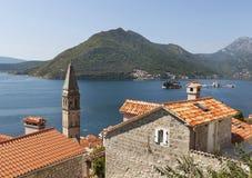 Alte Stadtlandschaft mit Dächern, Perast, Montenegro Lizenzfreies Stockfoto