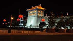 Alte Stadtmauer Chinas Xi'an nachts Lizenzfreie Stockfotografie