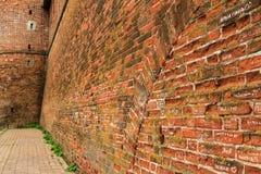 Alte Stadtmauer des roten Backsteins Lizenzfreie Stockfotos