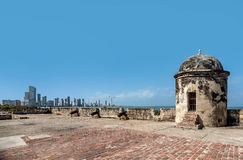 Alte Stadtmauern in Cartagena, Kolumbien Stockfoto