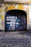 Alte Stadtmitte Bukarests vor Wiederherstellung Stockfotografie