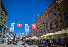 Alte Stadtmitte Novi Sads Stockfoto