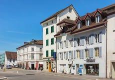 Alte Stadtstraße in Aarau, die Schweiz Stockfotos