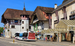 Alte Stadtstraße in Aarau, die Schweiz Lizenzfreie Stockfotografie