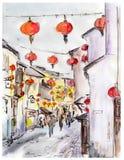 Alte Stadtstraße in China, Rotlaternen des traditionellen Chinesen Vektor Abbildung