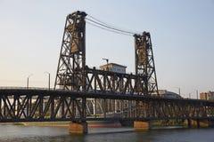 Alte Stahlbrücke, Portland-Stadt Lizenzfreies Stockfoto