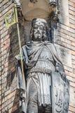 Alte Statue des Ritters am Heiligen Vitus Cathedral in Prag, Tschechische Republik, Details, Nahaufnahme stockfoto