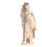 Alte Statuen der Frauen auf weißem Hintergrund Lizenzfreies Stockfoto