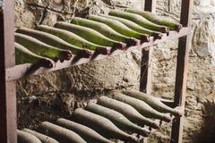 Alte staubige Weinflaschen im dunklen Keller Stockfotografie