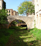 Alte Steinbrücke, Girona Lizenzfreie Stockfotos