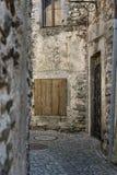 Alte Steinhäuser und Wand Architekturart der historischen acient Stadt in der alten Stadt Stockbild