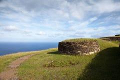 Alte Steinhäuser von Ostern-Insel lizenzfreie stockfotos