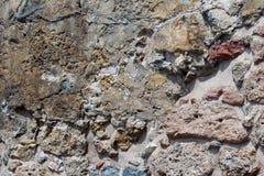 Alte Steinwand Maurerarbeit von alten Steinen und von Ziegelsteinen Schöner Hintergrund Lizenzfreie Stockfotografie