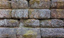 Alte Steinwand mit Moos Stockbilder
