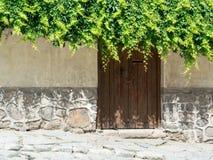 Alte Steinwand und Holztür Stockfotografie