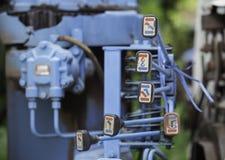 Alte Steuerung Hydrolic für Steuerkran hiab Stockfoto