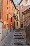 Alte Straße des Viertels der Judentumshäuser, Segovia, Spanien Lizenzfreies Stockfoto