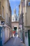 Alte Straße Greenwich, alte Reihenhäuser und Shopansicht Lizenzfreie Stockfotos