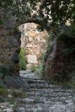 Alte Straßen auf dem Schlosshügel in Alanya Stockfoto