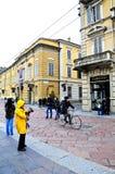 Alte Straßen in der historischen Mitte von Parma Stockfotos