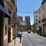 Alte Straßen im historischen Teil von Lissabon Alfama portugal Lizenzfreies Stockbild